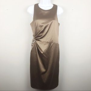 Eliza J Taupe Satin Cocktail Dress